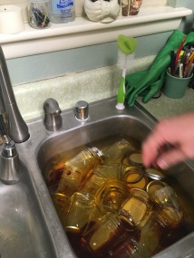 This is how we sterilize the jars early in the evening.